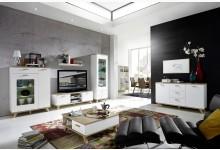 6tlg. Wohnzimmer mit LED-Beleuchtung Mod.GM709 Weiss - San Remo Eiche