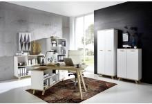 5tlg. Arbeits- & Bürozimmer Mod.GM711 Weiss - San Remo Eiche