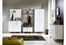 6tlg. Garderobenprogramm Mod.GM712 Weiss - San Remo Eiche