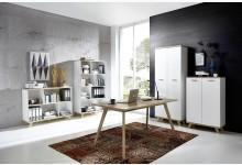 5tlg. Arbeits- & Bürozimmer Mod.GM713 Weiss - San Remo Eiche