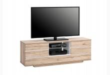 TV Ablage Lowboard Mod.TV652_3 Wildeiche - Weiß Hochglanz