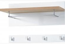 2-tlg. Garderobenpaneel - Wandgarderobe Mod.GM725 Weiss - Sonoma Eiche