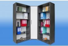 Büro Eckkombination Mod.SO168 Esche Karbon Weiss