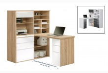 MINIOFFICE Mod.MJ089 Sonoma-Eiche - Weiß Hochglanz