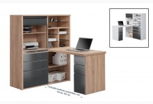 MINIOFFICE Mod.MJ089 Sonoma-Eiche - Grau Hochglanz