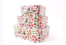 3er Set Geschenkbox - Aufbewahrungskoffer Mod.D014 Eule Motiv