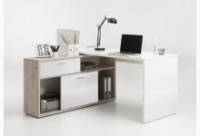 Schreibtisch Mod.F367-101 Weiß Hochglanz-Sandeiche