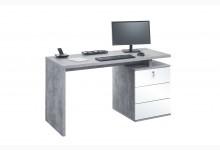 Schreibtisch Mod.MJ109 Betonoptik - Weiß Hochglanz