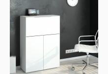 Sekretär / Kommode mit integriertem Schreibtisch Mod.MJ124 Weißglas