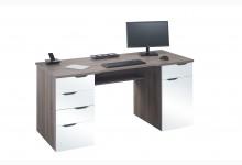 Computertisch / Schreibtisch Mod.MJ125 Eiche Trüffel - Weiß Hochglanz