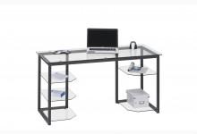 Computertisch / Schreibtisch Mod.MJ126 Metall Anthrazit - Klarglas