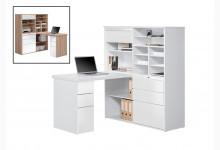 MINIOFFICE - Büroschrank mit integriertem Schreibtisch Mod.MJ128 Icy Weiß - Weiß Hochglanz