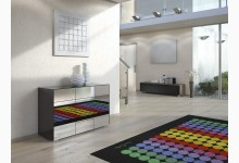 Kommode / Sideboard Mod.MJ150 Schwarzglas - Grauspiegel