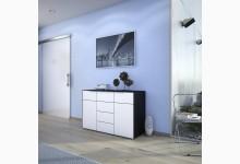 Kommode / Sideboard Mod.MJ151 Schwarzglas - Weißglas