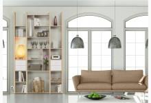 Wandregal / Mehrzweckregal mit Cableboard Mod.MJ170 Edelbuche - Weißlack