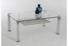 Couchtisch Mod. H015 Silber - Klarglas