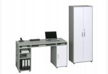 Schreibtisch-Aktenschrank-Set Mod.MJ247 Platingrau - Icy Weiß