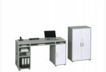 Schreibtisch-Aktenschrank-Set Mod.MJ248 Platingrau - Icy Weiß