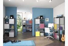 3tlg. Arbeits- & Bürozimmer mit Würfel-Einsätze Mod.MJ264 Anthazit - Platingrau
