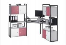 Eck-Schreibtischkombination / Computertisch mit Würfel-Einsätze Mod.MJ266 Anthazit - Platingrau