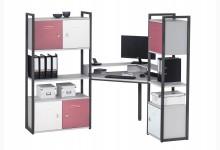 Eck-Schreibtischkombination / Computertisch mit Würfel-Einsätze Mod.MJ267 Anthazit - Platingrau