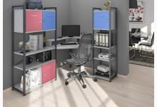 Eck-Schreibtischkombination / Computertisch mit Würfel-Einsätze Mod.MJ270 Anthazit - Platingrau