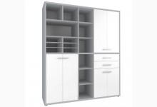 Schrank Mod.MJ308 Platingrau - Weißglas