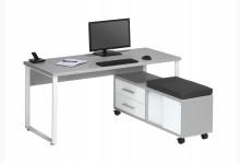 Schreibtisch mit Rollcontainer Mod.MJ318 Platingrau - Weißglas
