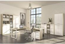 4tlg. Arbeits- & Bürozimmer Mod.MJ325 Eiche - Weißglas