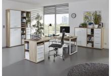 3tlg. Arbeits- & Bürozimmer Mod.MJ326 Eiche - Weißglas