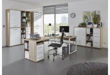 4tlg. Arbeits- & Bürozimmer Mod.MJ327 Eiche - Weißglas