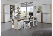 4tlg. Arbeits- & Bürozimmer Mod.MJ328 Eiche - Weißglas