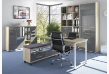 4tlg. Arbeits- & Bürozimmer Mod.MJ330 Eiche - Grauglas