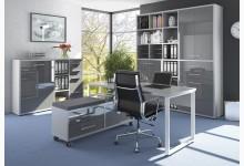 4tlg. Arbeits- & Bürozimmer Mod.MJ331 Platingrau - Grauglas