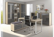 6tlg. Arbeits- & Bürozimmer Mod.MJ334 Eiche - Grauglas