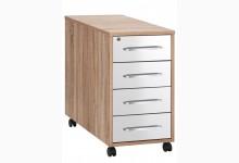 Rollcontainer Mod.MJ434 Sonoma Eiche - Weiß Hochglanz