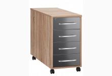 Rollcontainer Mod.MJ435 Sonoma Eiche - Grau Hochglanz