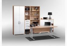 6tlg. Arbeits- & Bürozimmer Mod.MJ470 Sonoma Eiche - Weiß Hochglanz