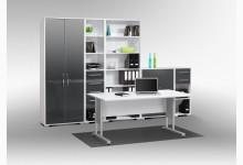 6tlg. Arbeits- & Bürozimmer Mod.MJ471 Icy Weiß - Grau Hochglanz