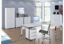 6tlg. Arbeits- & Bürozimmer Mod.MJ484 Weißglas
