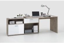 Winkelschreibtisch Mod.F367-001 Sandeiche/Hochglanz-Weiß