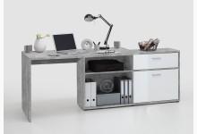 Winkelschreibtisch Mod.F367-001 Light Atelier/Hochglanz-Weiß