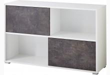 Schiebetürregal Mod.GM887 Weiß / Basalto-Dunkel