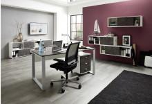 Büro- & Arbeitszimmer 7-teilig  Mod.GM890 Weiß / Basalto-Dunkel