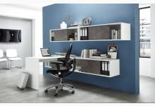 Büro- & Arbeitszimmer 5-teilig  Mod.GM891 Weiß / Basalto-Dunkel