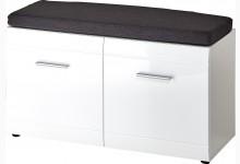 Schuhbank mit Sitzkissen Mod.GM911 Weiß Hochglanz