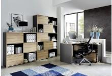 3tlg. Bürosystem Mod.GM607 Anthrazit - Sonoma Eiche
