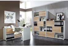 3tlg. Bürosystem Mod.GM613 Weiss - Sonoma Eiche