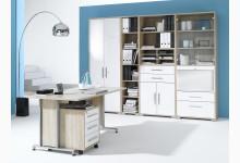 6tlg. Arbeits- & Bürozimmer Mod.MJ472 Sonoma Eiche - Weiß Hochglanz