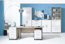 7tlg. Arbeits- & Bürozimmer Mod.MJ473 Sonoma Eiche - Weiß Hochglanz